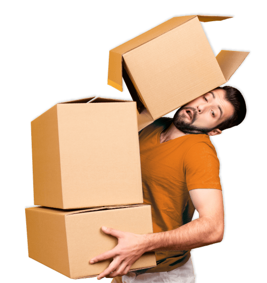 Man in distress holding stack of boxes and the top box falling.