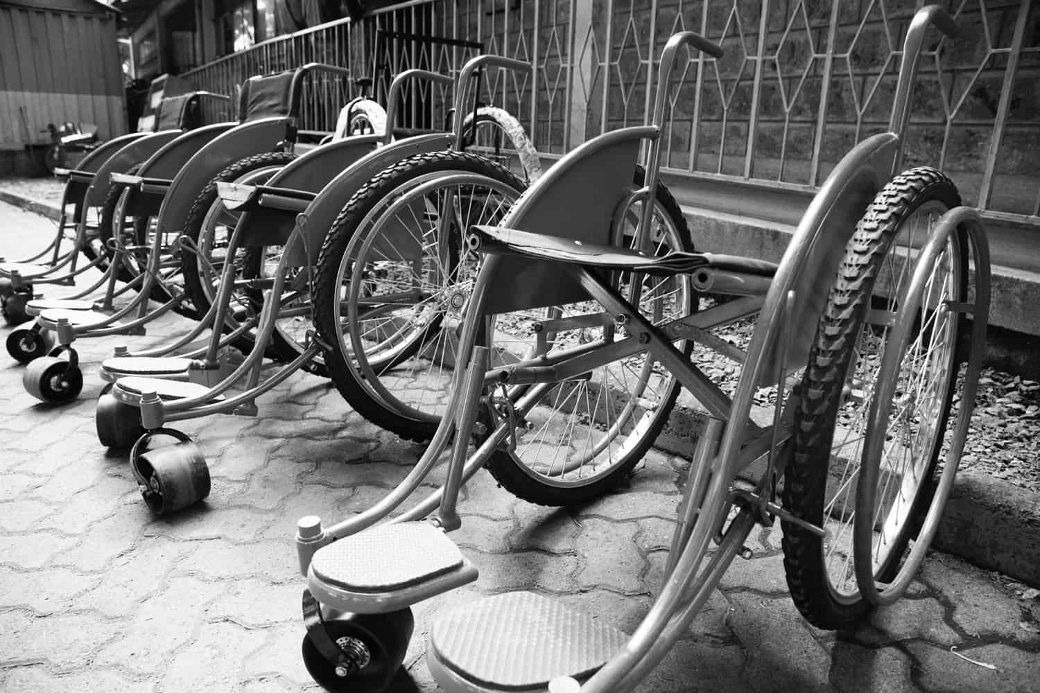 image of a row of wheel chairs.
