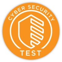 "Orange Button with shield outline that says, ""Cyber Security Test"" > Link takes you to online cyber security test"