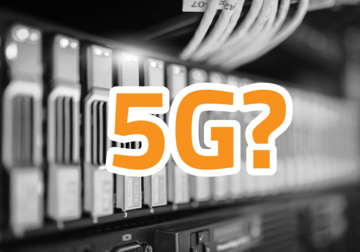 "Blurred image of electronics with the caption, ""5G?"""