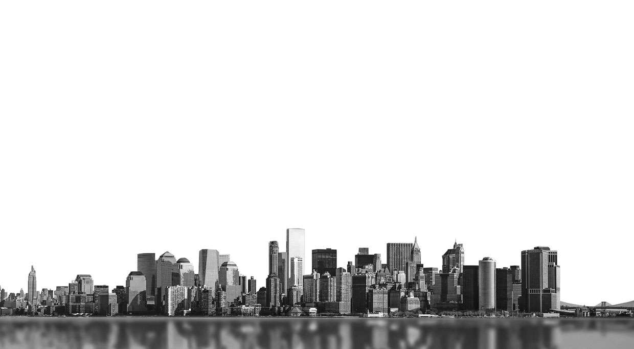 City Scape of large metropolitan area next to water
